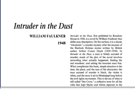 نقد رمان مزاحم در خاک اثر ویلیام فاکنر Intruder in the Dust by William Faulkner