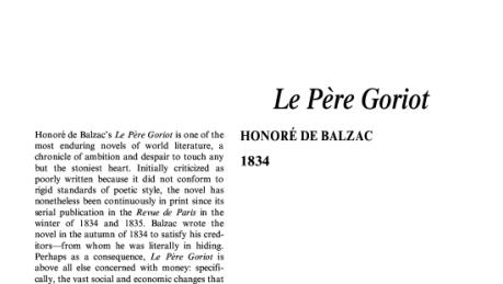 نقد رمان بابا گوریو اثر انوره دو بالزاک Le Père Goriot by Honoré de Balzac