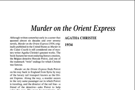نقد رمان قتل در قطار سریعالسیر شرق اثر آگاتا کریستی Murder on the Orient Express by Agatha Christie