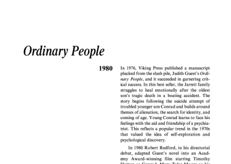 نقد رمان مردم معمولی فیلمی آمریکایی ساخته رابرت ردفورد Ordinary People is a drama film that marked the directorial debut of actor Robert Redford
