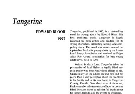 نقد رمان نارنگی اثر ادوارد بلور Tangerine by Edward Bloor