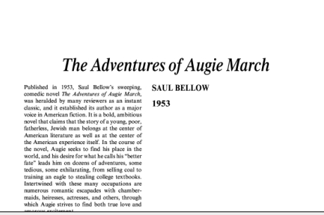 نقد رمان ماجراهای اوگی مارچ اثر سائول بلو The Adventures of Augie March by Saul Bellow