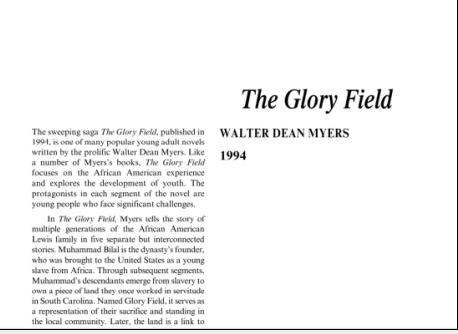 نقد رمان مزرعه شرافت اثر والتر دین میرز The Glory Field by Walter Dean Myers
