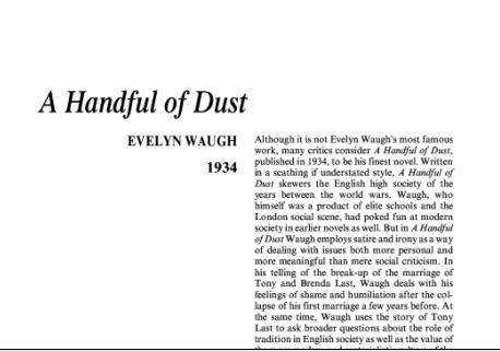 نقد رمان مشتی خاک اثر اولین وو A Handful of Dust by Evelyn Waugh