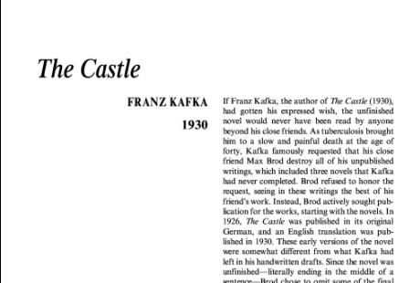 نقد رمان The Castle by Franz Kafka