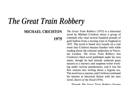 نقد رمان The Great Train Robbery by Michael Crichton