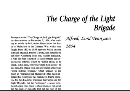 نقد شعر The Charge of the Light Brigade by Alfred, Lord Tennyson