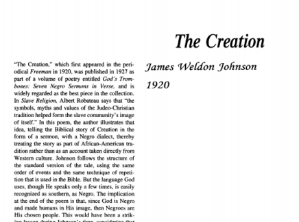 نقد شعر The Creation Poem by James Weldon Johnson