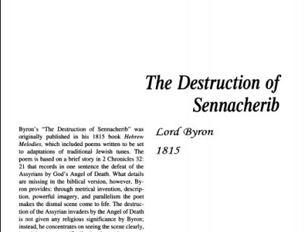 نقد شعر The Destruction of Sennacherib by Lord Byron
