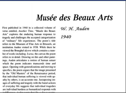 نقد شعر Musee des Beaux Arts by W. H. Auden