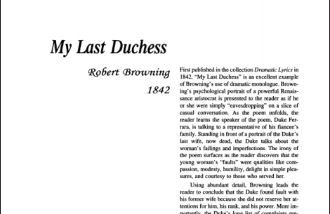 نقد شعر My Last Duchess by Robert Browning