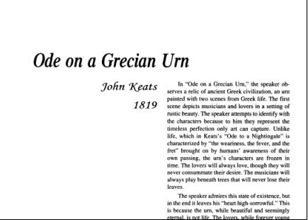 نقد شعر Ode on a Grecian Urn by John Keats