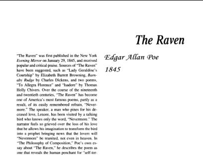 نقد شعر The Raven by Edgar Allan Poe