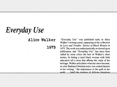 نقد داستان کوتاه Everyday Use by Alice Walker