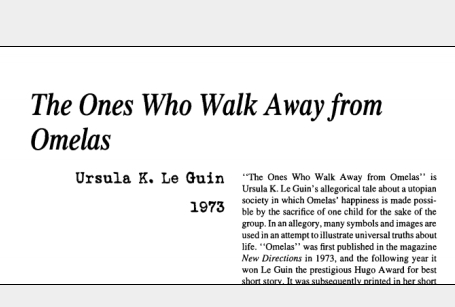 نقد داستان کوتاه The Ones Who Walk Away from Omelas by Ursula K. Le Guin
