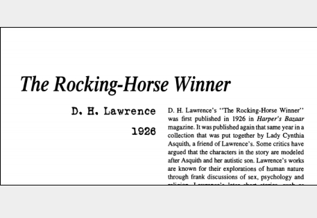 نقد داستان کوتاه The Rocking-Horse Winner by D. H. Lawrence