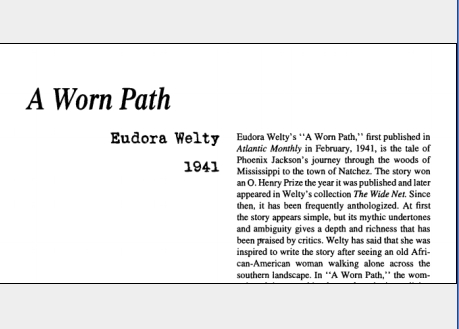 نقد داستان کوتاه A Worn Path by Eudora Welty