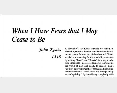 have fears may cease analysis When i have fears that i may cease to be by john keats poem analisys english poetry of the 19th – 20th c paola enguix fernández gr a  1 introduction in this paper i am going to talk about one of the most anguishing feeling someone can have the fear of.