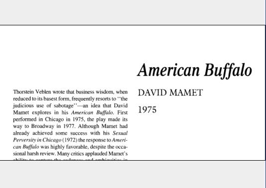نقد نمایشنامه American Buffalo by David Mamet