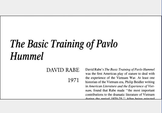 نقد نمایشنامه The Basic Training of Pavlo Hummel by David Rabe