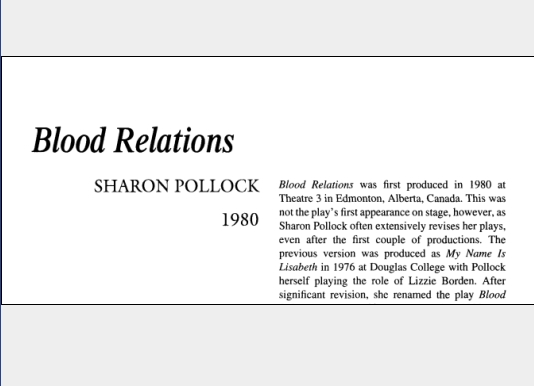 نقد نمایشنامه Blood Relations by Sharon Pollock