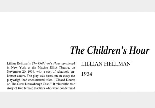 نقد نمایشنامه The Childrens Hour by Lillian Hellman