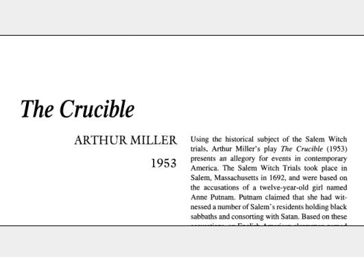 نقد نمایشنامه The Crucible by Arthur Millers
