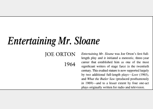 نقد نمایشنامه Entertaining Mr Sloane by Joe Orton