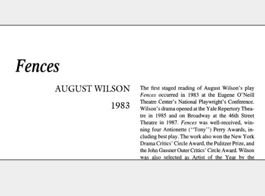 نقد نمایشنامه Fences by August Wilson