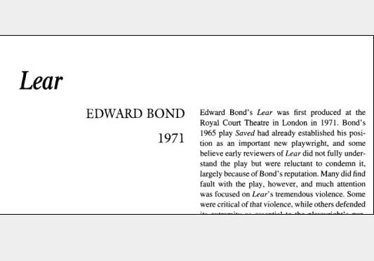 نقد نمایشنامه Lear by Edward Bond