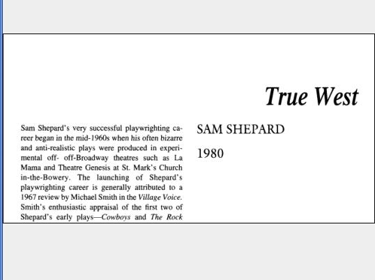 نقد نمایشنامه True West by Sam Shepard