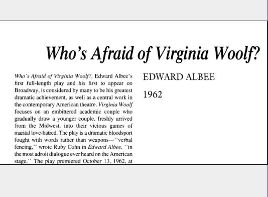 نقد نمایشنامه Whos Afraid of Virginia Woolf? by Edward Albee