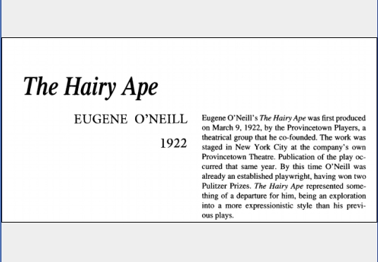 نقد نمایشنامه The Hairy Ape by Eugene ONeill