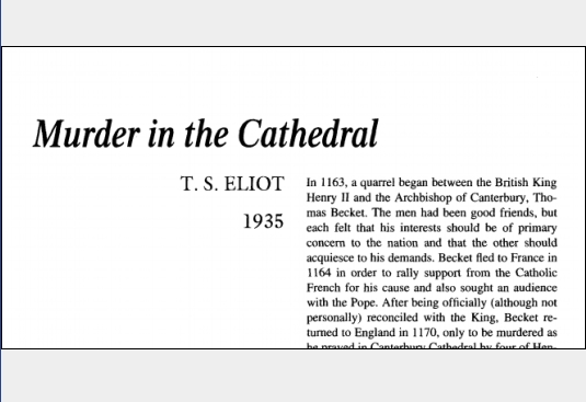 نقد نمایشنامه Murder in the Cathedral by T.S. Eliot