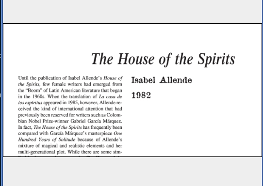 نقد رمان The House of the Spirits by Isabel Allende