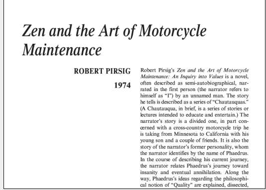 نقد رمان Zen and the Art of Motorcycle Maintenance by Robert Pirsig