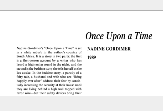 نقد داستان کوتاه Once Upon a Time by Nadine Gordimer