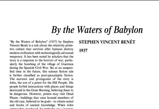 نقد داستان کوتاه By the Waters of Babylon by Stephen Vincent Benét