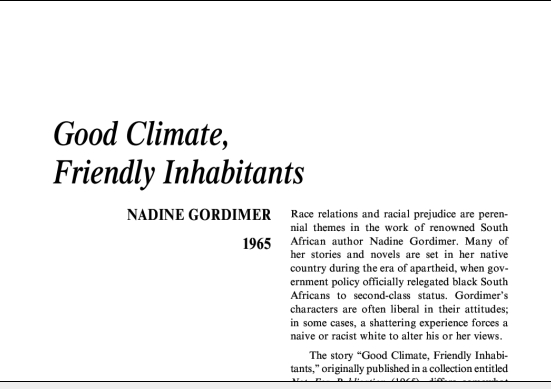نقد داستان کوتاه Good Climate, Friendly Inhabitants by Nadine Gordimer