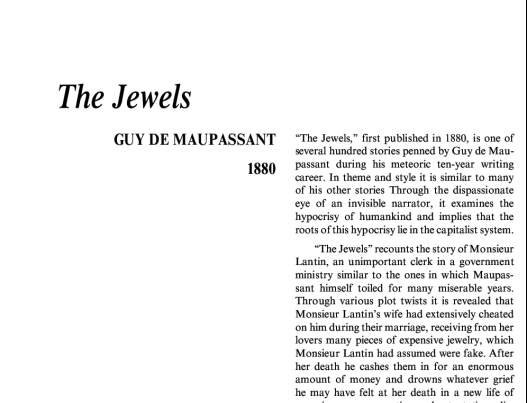 نقد داستان کوتاه The Jewels by Guy de Maupassant