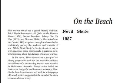 نقد رمان On the Beach by Nevil Shute