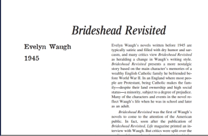 نقد رمان Brideshead Revisited by Evelyn Waugh