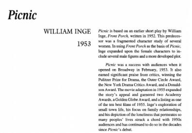 نقد نمایشنامه Picnic by William Inge