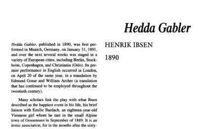 نقد نمایشنامه Hedda Gabler by Henrik Ibsen
