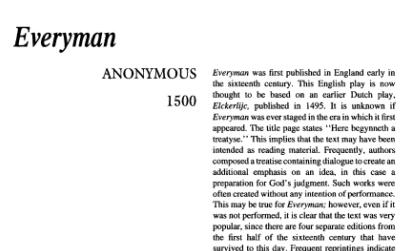 نقد نمایشنامه Everyman by Anonymous