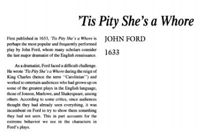 نقد نمایشنامه Tis Pity She's a Whore by John Ford