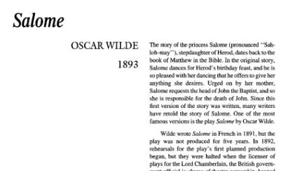 نقد نمایشنامه Salome by Oscar Wilde
