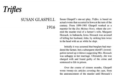 نقد نمایشنامه Trifles by Susan Glaspell