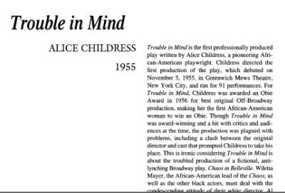 نقد نمایشنامه Trouble in Mind by Alice Childress