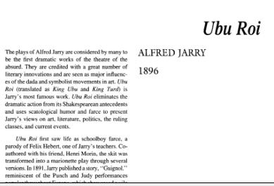 نقد نمایشنامه Ubu Roi by Alfred Jarry